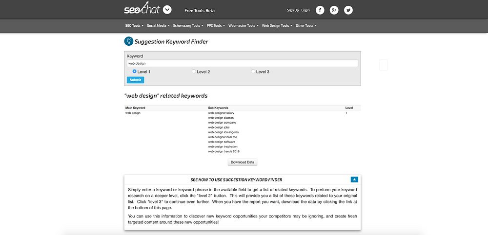 Suggestion keyword finder SEO keyword research free tools
