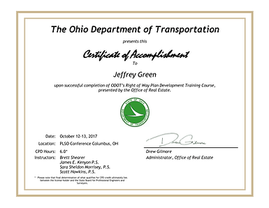 Official Ohio Department of Transportation Certificate Land Surveyor Jeffrey Green Ohio