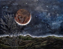 setting moon over salmon mountains