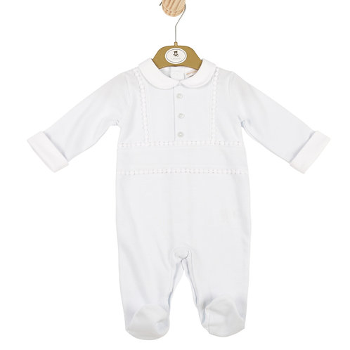 Mintini Boys Blue All-in-one with White Collar and Front Button