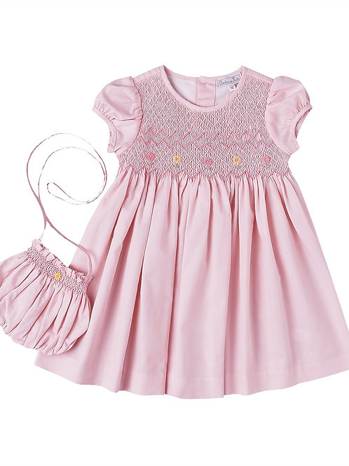 Hand Smocked Floral Pink Dress & Purse