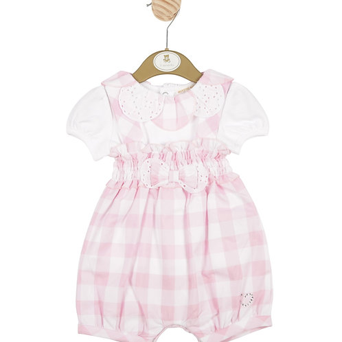 Mintini Baby Girls Pink Crisscross Bib Shorts and White Blouse