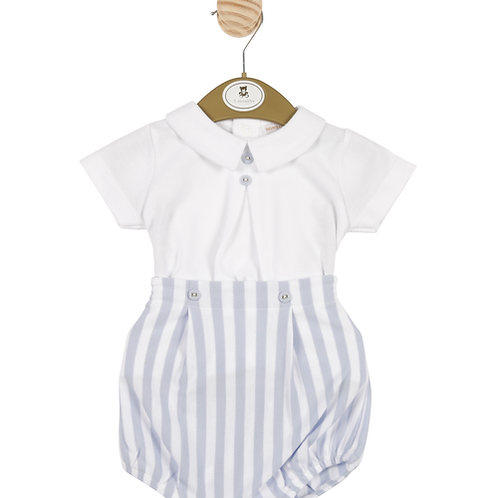 Mintini Baby Boys White top and Striped Shorts Set
