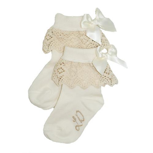 Little Darlings Girls Ivory Ankle Bow Socks