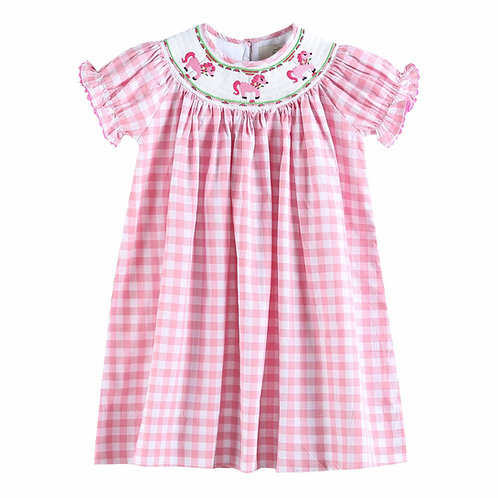 pink check short sleeve smocked dress with pony embroidery