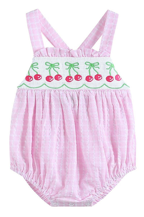 smocked embroidery pink gingham cherry bubble