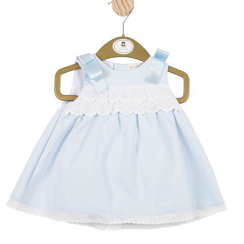 Baby girls blue dress with lace