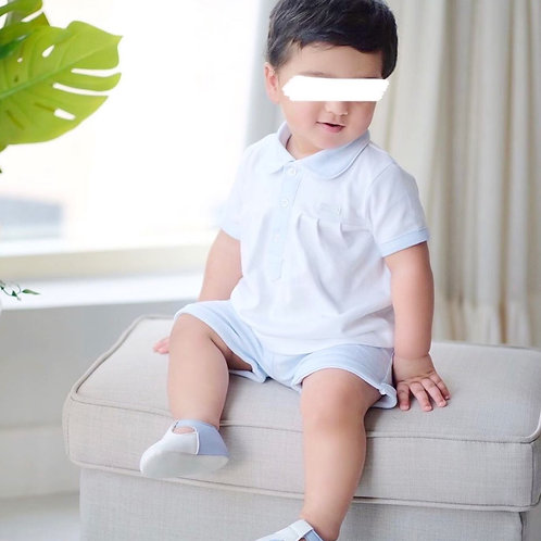 Mintini Baby Boys White Top and Blue Check Shorts Set