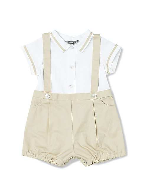 Beige Suspender Shortalls & Button-Up