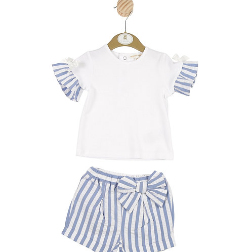 Mintini Baby Girls Blue Striped T-shirt and Shorts