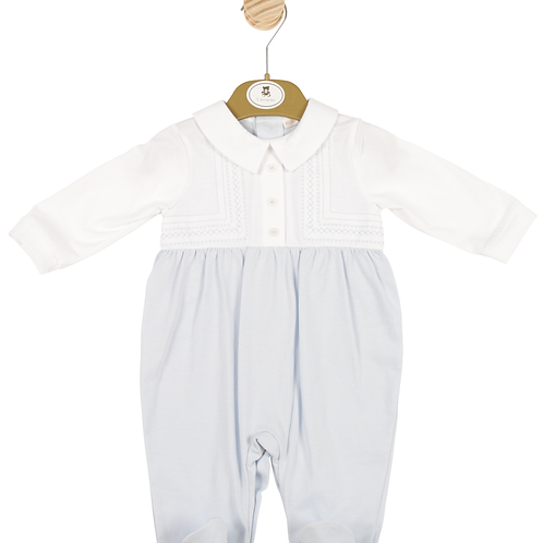 Mintini Baby Boys White and Blue All-in-one with Subtle Stitching