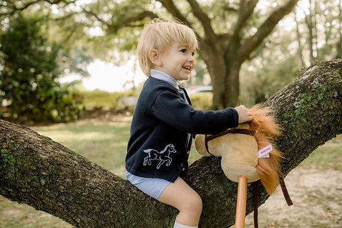 """""""lullaby set"""" BURROW BUTTON DOWN SWEATER - HORSE - COUNTRYSIDE"""