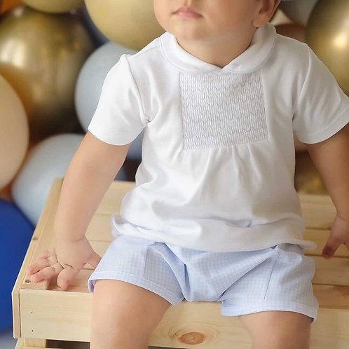 """BLUES BABY"" BOYS 2PC GINGHAM PIQUE SHORT SET"