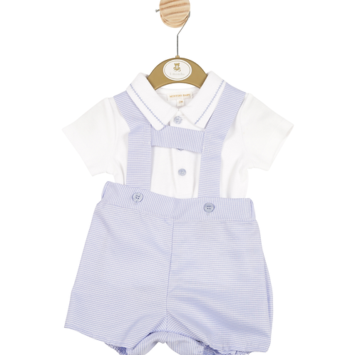 """""""Mintini Baby"""" Boys White Top and Blue H-Brace Shorts"""