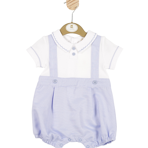 Minitini baby Boys Blue Romper with White Shirt