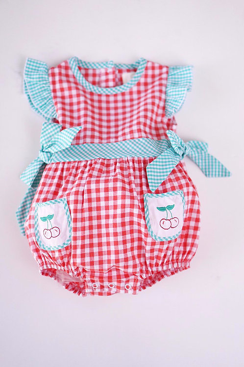 Cherry Embroidery Baby Romper