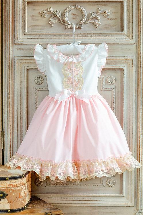 """""""Aurora Royal"""" pink & white lace dress"""