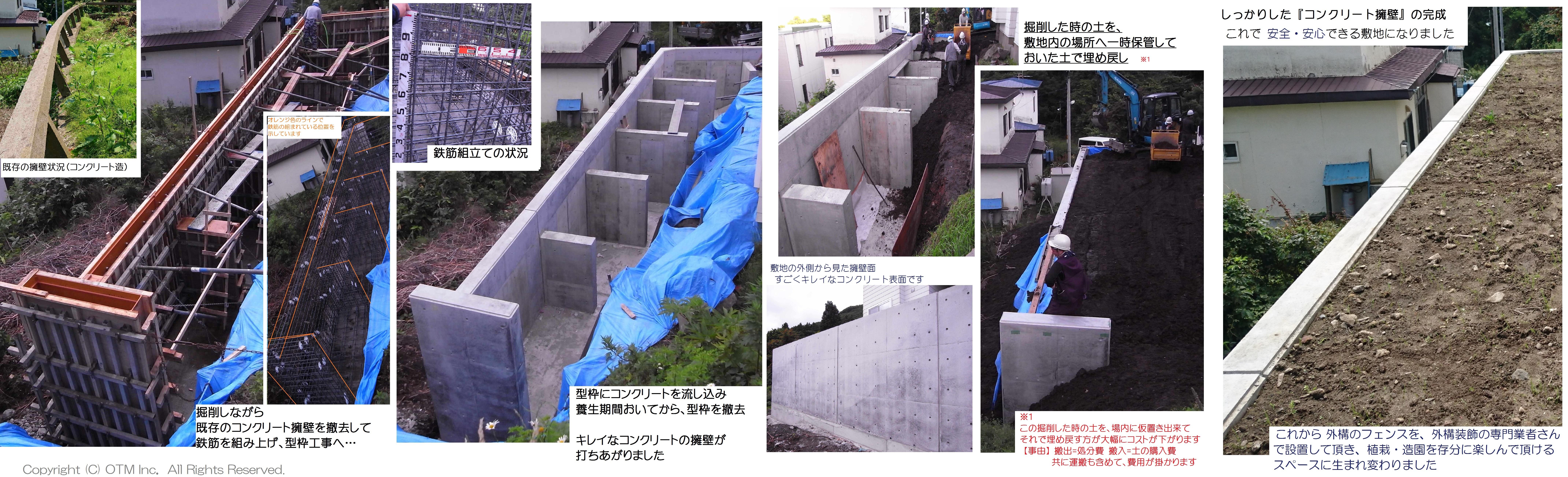 新しくコンクリート擁壁が出来る上がるまでの工事流れ