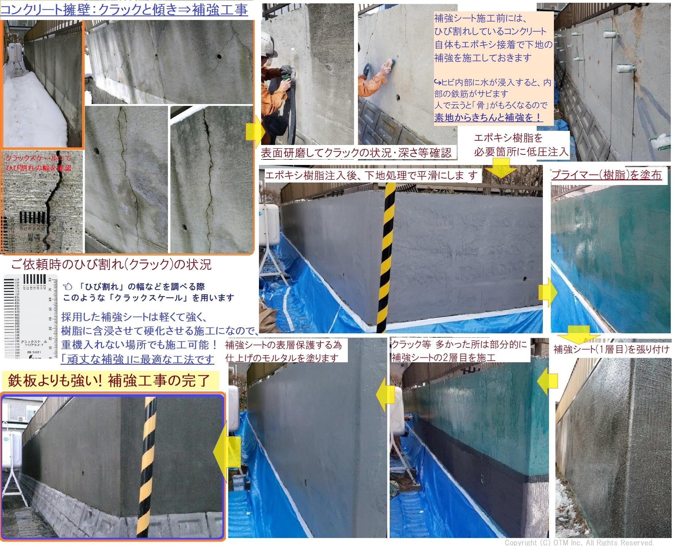 既存コンクリート擁壁のクラック・傾きの対策工事