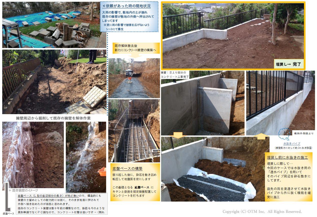 大雨での影響で擁壁が崩れて造り替えへ