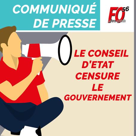COMMUNIQUE DE PRESSE : le Conseil d'Etat censure le gouvernement