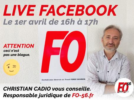 Le 1er Live de #FO56 (Force Ouvrière du Morbihan) sur Facebook.