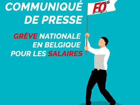 COMMUNIQUE DE PRESSE : Grève nationale en Belgique pour les salaires