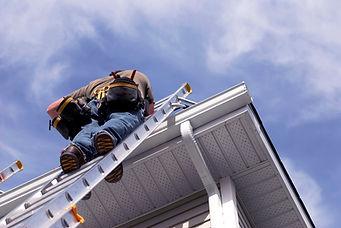 Climbing a Ladder technician Roof Damage Public Adjuster Sarasota Florida