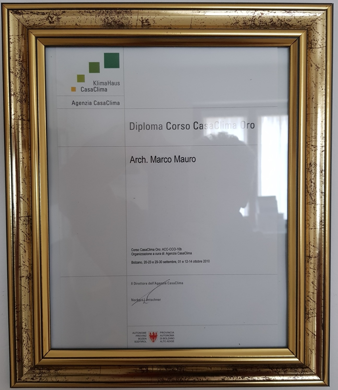 diploma CasaClima Oro