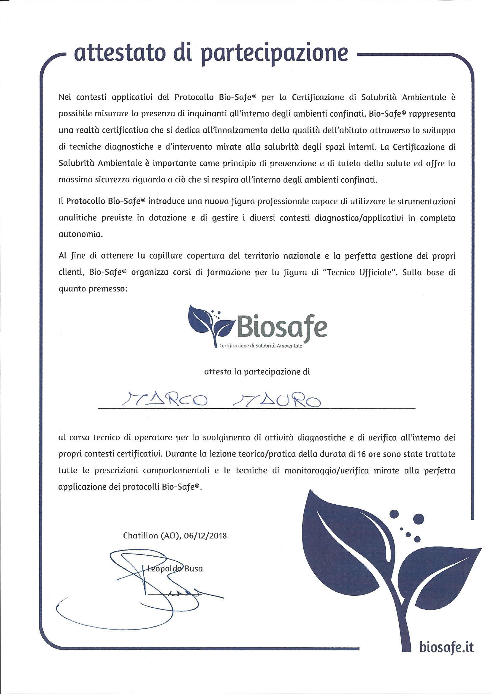 BioSafe tecnico abilitato