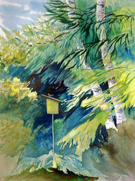 "Janet Hobbs, ""Birdhouse in the Birches"""