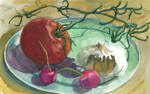"""Janet Hobbs, """"Tomato, Garlic, and Cherries """""""