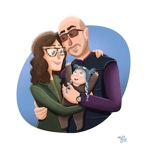 Family portrait done as commission artwo