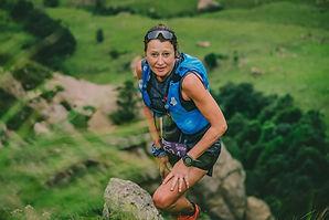 Female mountain hiking running