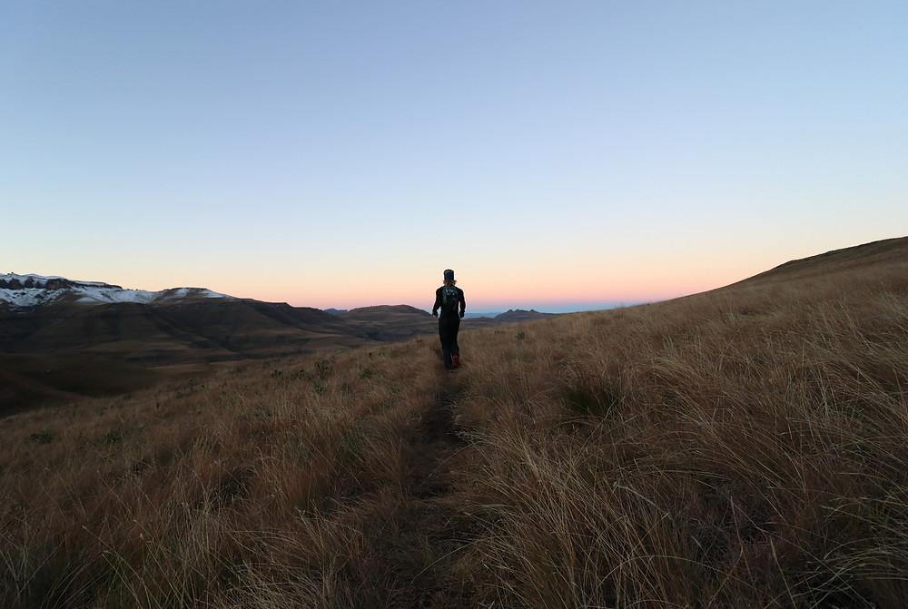Pierre Jordaan, a mountain runner, racing down the Drakensberg trails