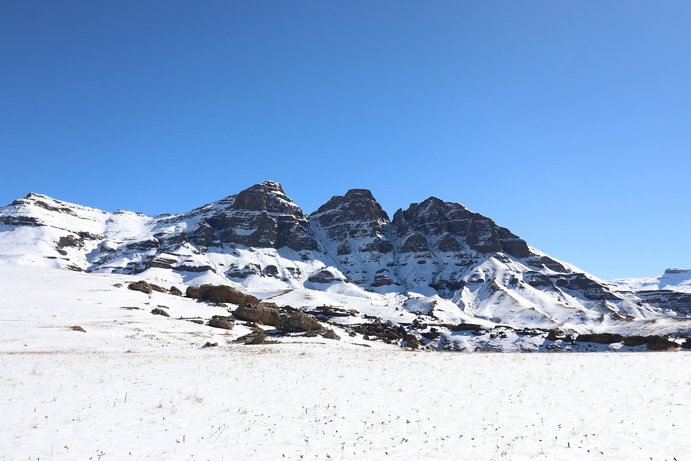 The Devil's Knuckles in all their glory covered in snow in the Drakensberg