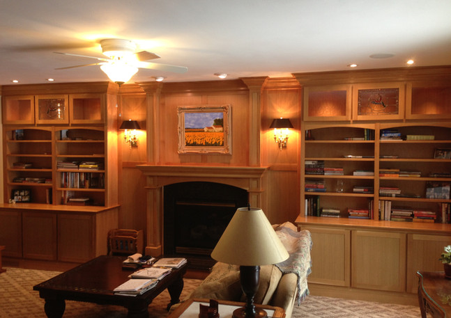 Custom Fireplace & Bookshelves after
