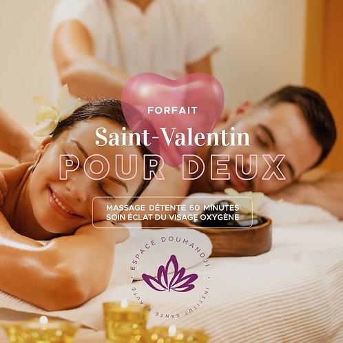 Forfait Saint-Valentin: 2 Massages détente 60 min + 2 soins éclat visage Oxygène