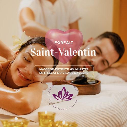 Forfait Saint-Valentin: 1 Massage détente 60 min + 1 Soin éclat visage Oxygène