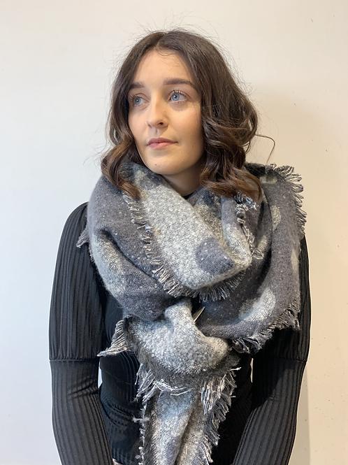 Grey spot reversible scarf
