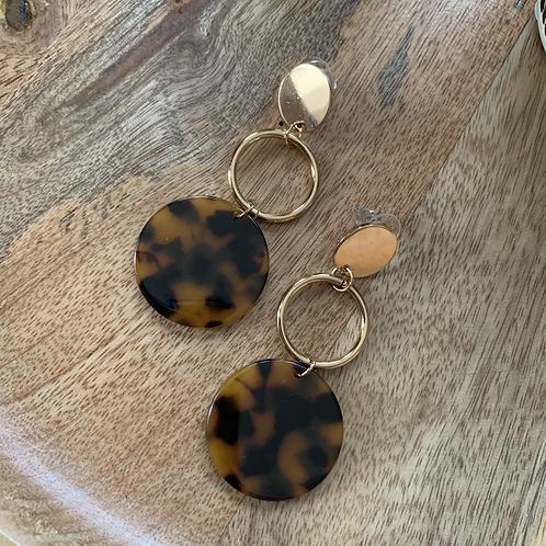 Tortoise shell & gold circle danglers