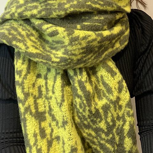 Lime animal print scarf