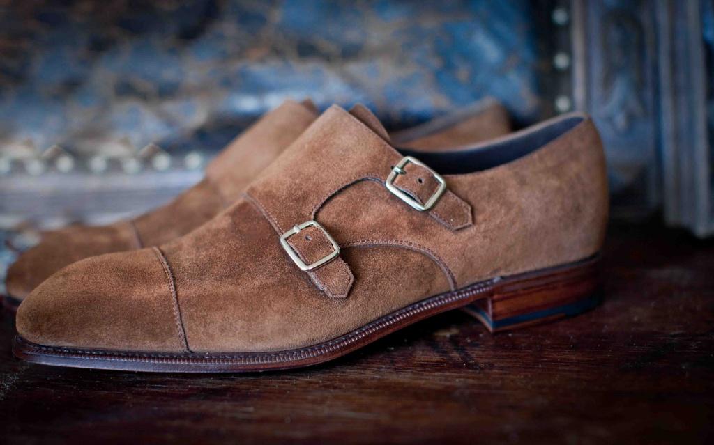 mens suede double monk strap shoes