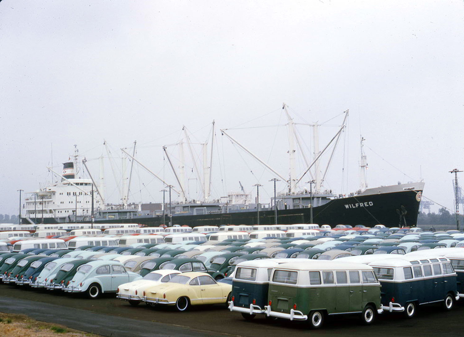 Wilfred at dock in Emden 1966, carrying VW cars to the US market