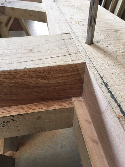 The stepped shoulder here means that everything still looks presentable even after I have cut out the rebate for the joinery unit. There is a quicker way to do this, but it is far less pleasing on the eye.