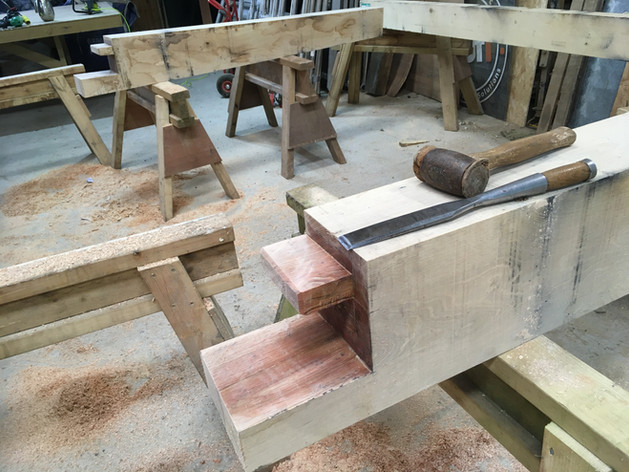 Each joint is designed with a specific purpose.  The one you see here will ultimately help to tie the opposite walls of this frame together.