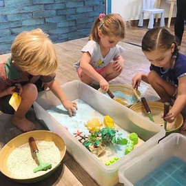 Beach themed Messy PLay at Kaboodle