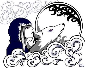 ヤマダサラ イラストレーター 人物 イラスト 魔女 動物 オオカミ