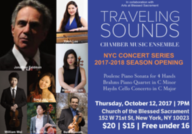 Traveling Sounds NYC Concert Series | Classical Music | Chamber Music | Jonathan Feldman | Yoon Lee | Bela Horvath | William Wei | Sung Jin Lee | Mariko Wyrick | Yi Qun Xu | Haydn | Poulenc | Brahms