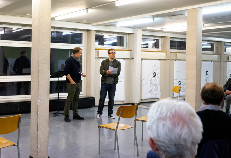 Marco Schmid and Andreas Rosar, team Citypastoral Luzern, their speech at the opening ceremony of the exhibition